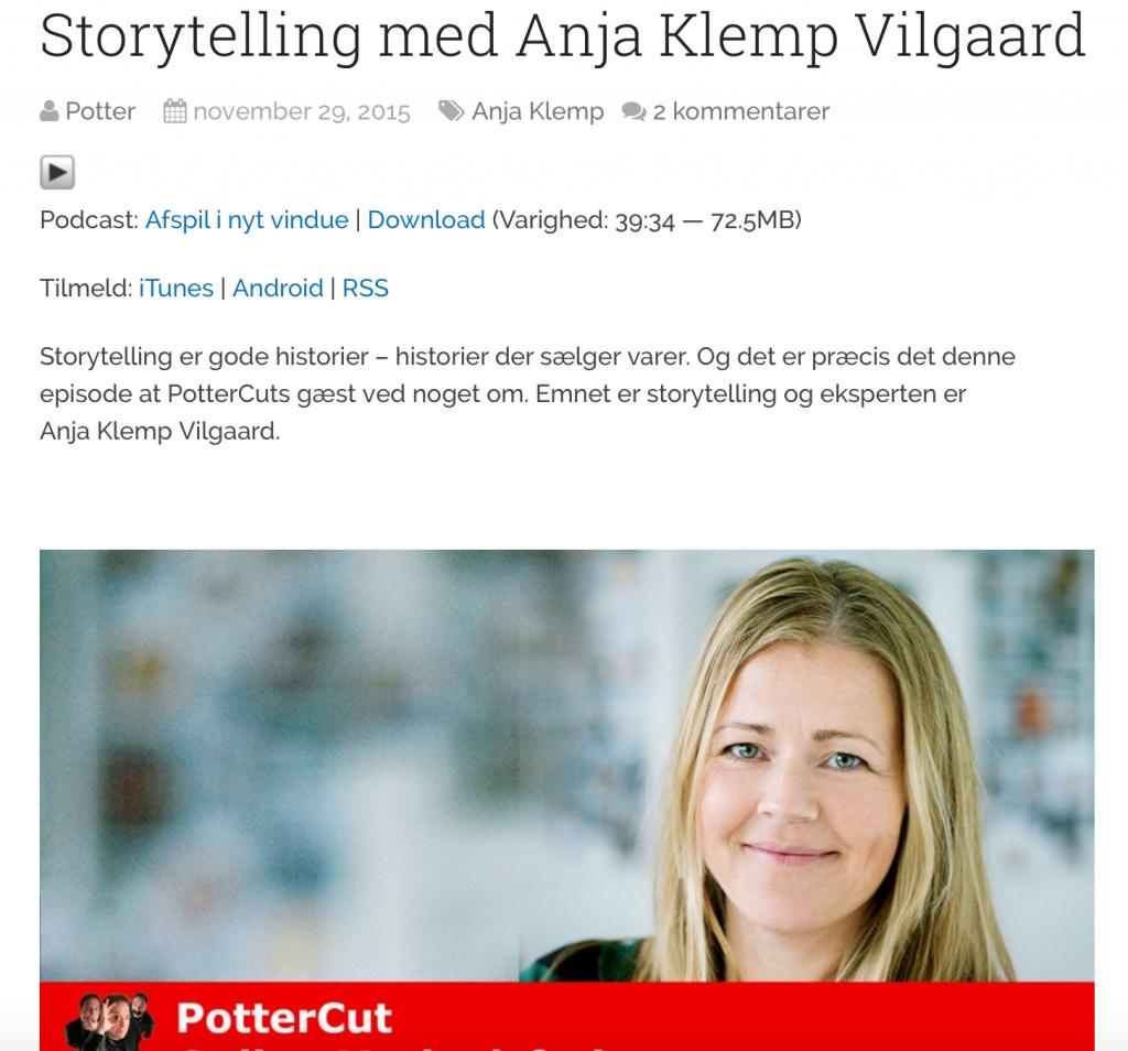 Storytelling podcast med Anja Klemp Vilgaard